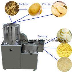 Produtos hortícolas Chip de batata peeling de lavar roupa cortador com pedal de Corte Máquina Conbined