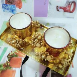 [2بكس] [بفك] صندوق محدّد صويا شمّ شمع مع إكليل حلية بما أنّ عيد ميلاد المسيح هبة شمعة