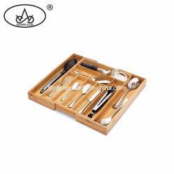 Het in het groot Dienblad van het Bestek van het Bamboe van de Organisator van de Lade van de Keuken van het Embleem van de Douane Uitzetbare Houten