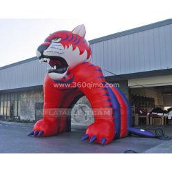 It018 de color rojo de alta calidad de la Cabeza de Lobo publicidad personalizada alquiler de carpas hinchables personalizados de gran arco inflable tienda