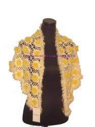 Hand-Knitted Caddice Cape com peles de coelho (ODS0745)