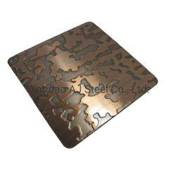 Groothandel Embossed Bronze Mirror SS 201 patroon Decoratief roestvrij staal Blad