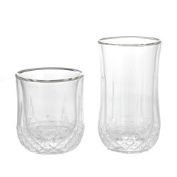 二重ガラスコップのホウケイ酸塩のハンドメイドのガラスコップ
