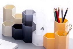 O plástico forma redonda com lápis de plástico com compartimentos múltiplos suporte de caneta para Office/Escola