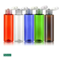 Blaue Kippen-Schutzkappen-leerer Plastikarbeitsweg füllt transparente kosmetische Plastikflasche für Sahnelotion-Gefäß grün-blaues 30ml 50ml ab