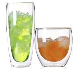 Preiswerter Preis-doppel-wandiges Borosilicat-Glas-Trommel-Kaffee-Milch-Luftblasen-Tee-Cup mit Kappe
