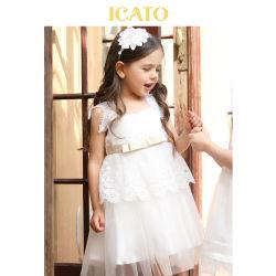 Kundenspezifisches Sleeveless reizendes Tulle-Blumen-Mädchen-Kleid mit Spitze für Mädchen