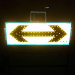 Flèche solaire portable jaune fluorescent LED verte clignotante