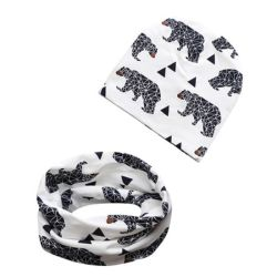 Baby meninas e meninos inverno quente de malha impresso Beanie Hat e lenço de Loop Toddler 2 Peças Conjunto Térmico13427 ESG