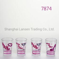 4-pièces Shot verre avec l'impression pour l'alcool implantés au même endroit