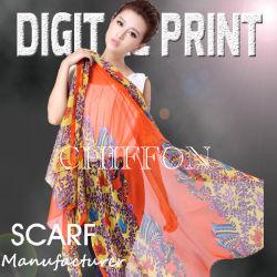 De seda de impressão 100% Chiffon de seda, Seda Georgette (M016)