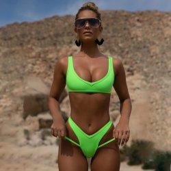 2021 mujer sexy traje de baño mujer cintura alta Traje de baño Trajes de Baño vendaje acolchado Bra sólido Bikini