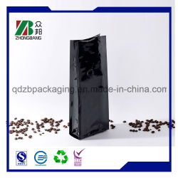 Sac de café en plastique noir mat avec gousset latéral