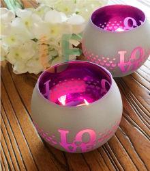 T-Luz de color plata portavelas de vidrio pintado en diferentes formas y tamaños para decorar