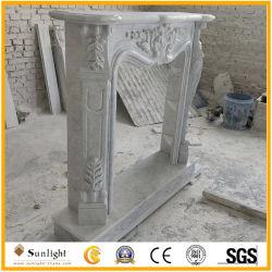 Puro de alta calidad de color blanco/gris/amarillo/negro manto chimenea de mármol tallado con flor