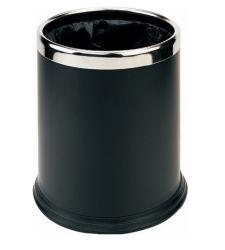 precio de fábrica de doble capa de la Ronda de 10L Habitación de Hotel Black Metal cubo de basura