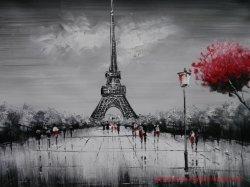 Rua Paris artesanais pintura a óleo em preto e branco