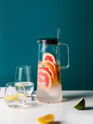 Design clássico 1.4L de vidro borossilicato Pyrex Arremessador de água com tampa de plástico do filtro e mexa Bar