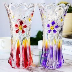 Les vases en verre coloré avec beaucoup de dessins de la décoration en verre Vase de fleurs de couleur