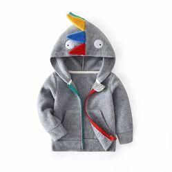 Maglietta felpata di lana di Hoodie del rivestimento della parte anteriore della chiusura lampo del dinosauro delle ragazze dei neonati