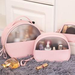 Logotipo personalizado de lujo maquillaje claro Bolsa de viaje set de aseo de PVC transparente de la bolsa de cosméticos Bolsa de cuero de PU conforman la bolsa con cremallera