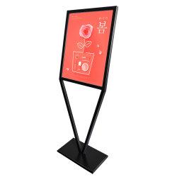 Étage Affiche Stand signe permanent titulaire double face de fer noir affiche publicitaire Présentoir en métal titulaire Landing Restaurant Outdoor Stand en rack