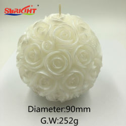 結婚の装飾的で敏感な花のローズの花束の球の蝋燭