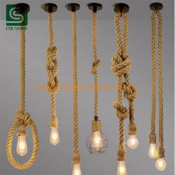 ヨーロッパ式のレトロの麻ロープ吊り下げ式ライトE27ペンダント灯