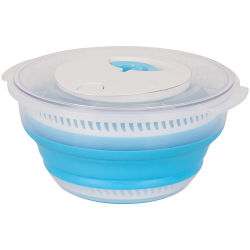 De blauwe de Ruimtebesparende drawstring-Actie van het Silicone Spinner van de Salade van de Rotatie Opvouwbare