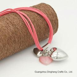 L'électrophorèse Electroplate & Mode bijoux quatre couches de la cire de cordes Collier Pendentif coeur bijoux pour femmes