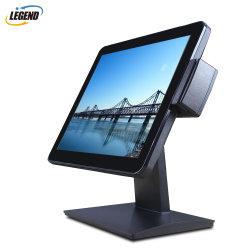 15 pulgadas de alta calidad verdadera Pantalla táctil capacitiva POS plana display LED Monitor LCD con soporte de metal