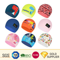 Custom Logo Silicone Polyester Fabric Waterproof Printing Bril Hat Injection Matrijs Zwempak Stof Nylon Badmode Silica Gel Sport Goods Zwembadmuts