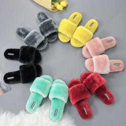 Buitenlandse Handel Woolen Slippers Women Wear schapen Cake Wool Open-Teen Flip-Flops Houten vloer katoenen Slippers voor de herfst en winter