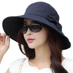 Womens Upf50 Packable coton Sun chapeaux W/cordon Chin LARGE BORD Le chapeau élégant