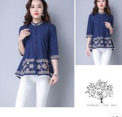 La nueva moda camisa de algodón, blusa bordada medio para que las mujeres de la primavera y otoño de 2020
