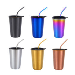 16 Oz 스테인리스 밀짚과 뚜껑을%s 가진 고전적인 간단한 커피 공이치기용수철 컵