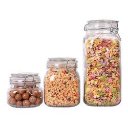 Botella de vidrio de 3 con tapas 17/34/78oz Jar de almacenamiento de alimentos con un claro sello de la preservación de abrazadera de cable