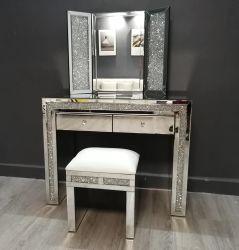 Aplastó el vidrio Dimond conjuntos duplicados tocador con espejo de tocador Home Hotel Vanity