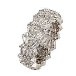 Anello di cerimonia nuziale d'argento dell'accumulazione dei monili delle coperture 925 pieni di lusso fortunati del diamante