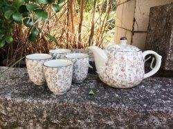 5pcs Set tetera de cerámica y porcelana taza juego de té