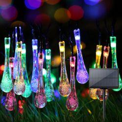 Outdoor Garden String Lights Water Drop Shape Outdoor Solar Bubble ضوء السلسلة