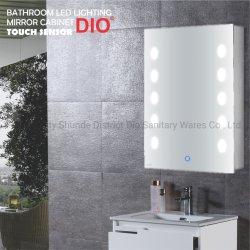 ファッション LED 照明ステンレススチールバスルームミラー壁取り付けキャビネット