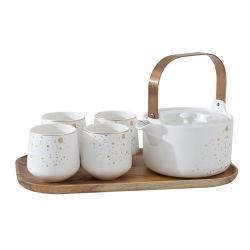 Décoration dorée et fleur en céramique théière avec 4PCS Cup Teaset
