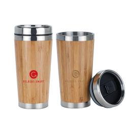 El logotipo impreso de letras de acero inoxidable de bambú de coche Travel taza de café de regalo para oficina