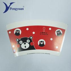Impreso personalizado único desechables de papel recubierto de PE Cup Ventilador para vaso de papel