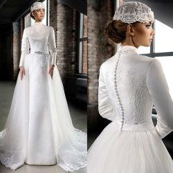Мусульманские устраивающих платье Русалки кружева Satin свадебные платья wd63