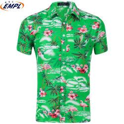 Feiertags-Sommer-Strand Drehen-Unten Muffen-kurze Hülse gedruckte hawaiische beiläufige grüne Hemden für Männer