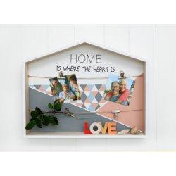 Holzhaus Box mit Clips 45X5X35.5cm, Wandkunst, Wanddekor, Wandschatten Box