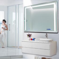 Venda de fábrica sem caixilho de banho LED montados na parede espelho com três luzes laterais