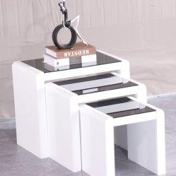 MDF гостиной компоновке Кофейный стороны стола с закаленным стеклом современной домашней мебели